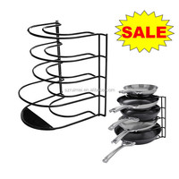 Kitchen organize protect pots pans rack metal frying pans rack