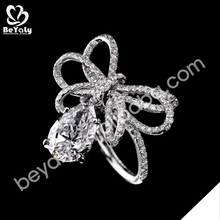 wholesale cheap knot design silver zircon ring