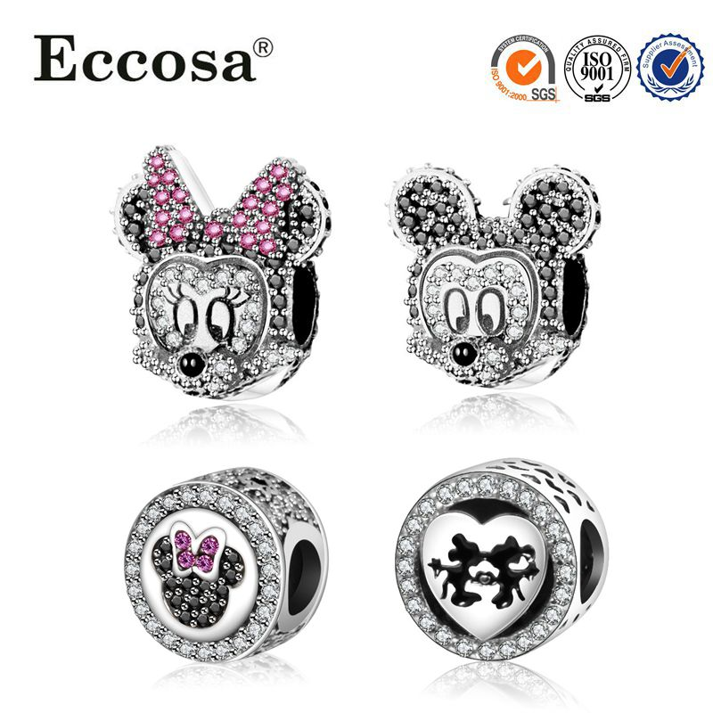 2017 Hot sale new production 925s mickey and minnie mouse sterling silver beads for Bracelet & Bangle Clasp Pendant
