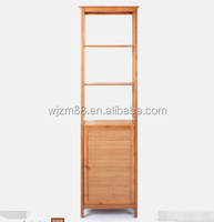 retail hot sale 5 tier Natural Bamboo tall storage cabinet bathroom tower storage shelf Multifunction display rack prices