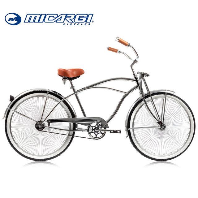 Micargi 26 inch Mens Single speed Chrome Cruiser Bicycle COUGAR retro chopper bike