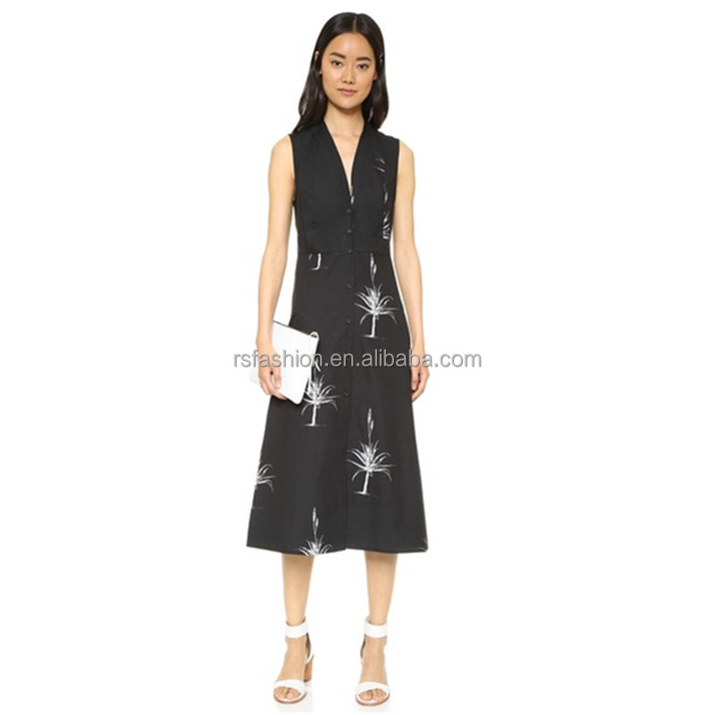 Latest design fashion ladies formal deep v-neck print black long dress