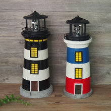 CE ROHS approved 360 rotating garden decorative polyresin lighthouse solar light with rotating LED beacon