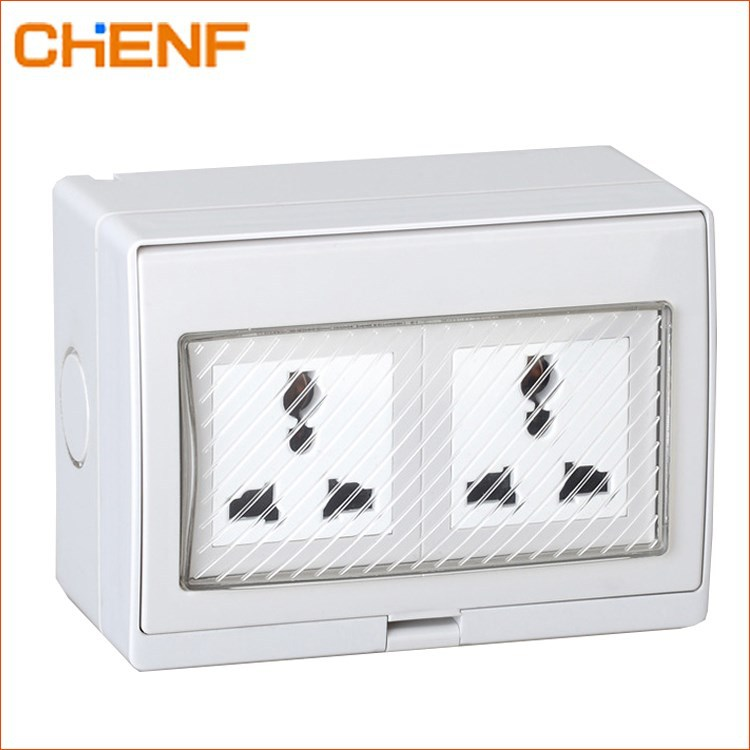 CHENF IP55 New Generation National pushbutton switch with waterproof cover 110-250V 16A ABS/PC Socket