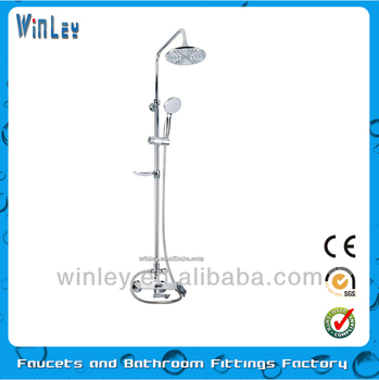 brass bath shower faucet chrome plating with sliding bar