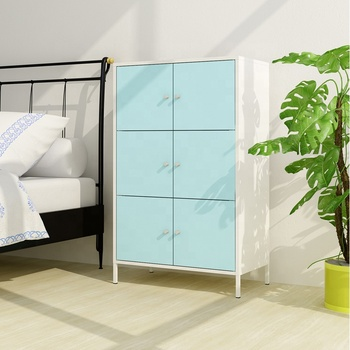 Metal 6 Doors Bedside Storage Cabinet Steel Bedroom Cabinet Design