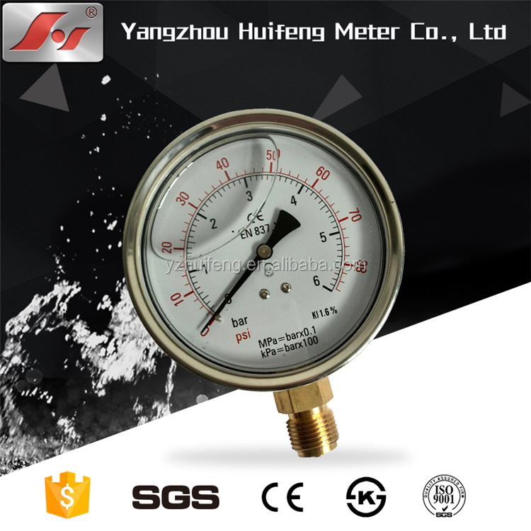 "2.5"" 63mm dual scale glycerine or silicone oil liquid filled bourdon tube pressure gauge"