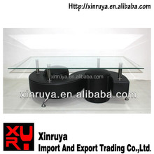 Hot sale modern tempered glass PU S shape coffee table with stool