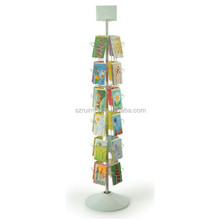 6-Tiered Floor Rotating 24 Pockets Sign Clip Gift Card Display Rack