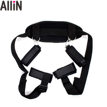 OEM Embroidery logo Adult Neck Handcuffs Open Leg Bind Belt bed rope Slave Restraints Kit Sex Bondage Toys Adult Products