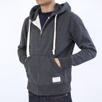 Restoring ancient deep grey with zipper pocket hooded fleece