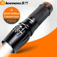 T9052 5 Modes XML T6 High Power Long Range 26650 Rechargeable Zoom Led 2000 80000 Lumens Tactical Flashlight