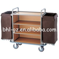 Guangzhou hotel guest room supplies stainless steel housekeeping trolley cart cleaning carts cleaning trolley F234