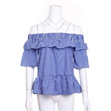 Woven Rayon Crinkled Bust smocked off the shoulder ladies tops/blouse gingham top