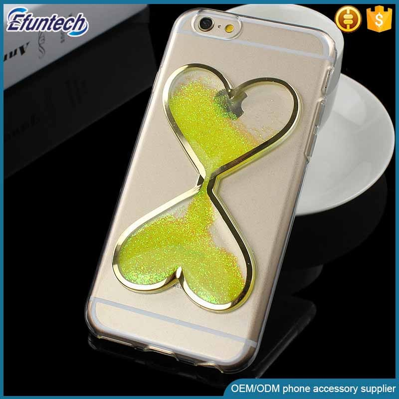 Beautiful free sample fluorescence light heart liquid sand cell phone case for iphone 7 plus cover case