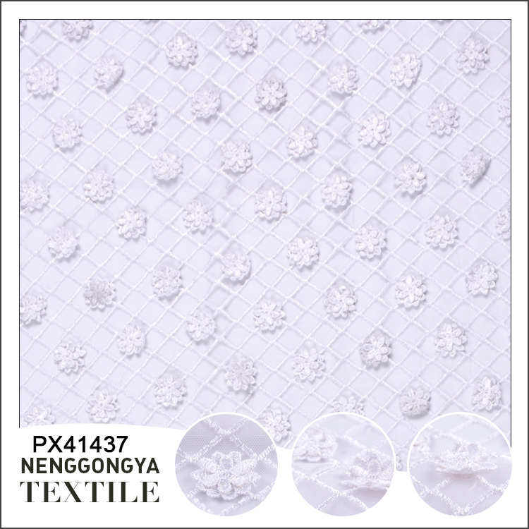 Oem bulk polyester embroidery plaid types of net fabric