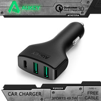 AUKEY Quick Charge 3.0 3 Port USB / Type C Phone Car Charger For Nexus 5X 6P Nokia N1 OnePlus 2 Apple MacBook 12''