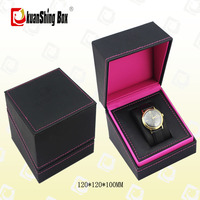 Clamshell luxury black plastic leather watch box