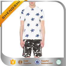 European style small size star print factory men's 100% cotton polo t shirt