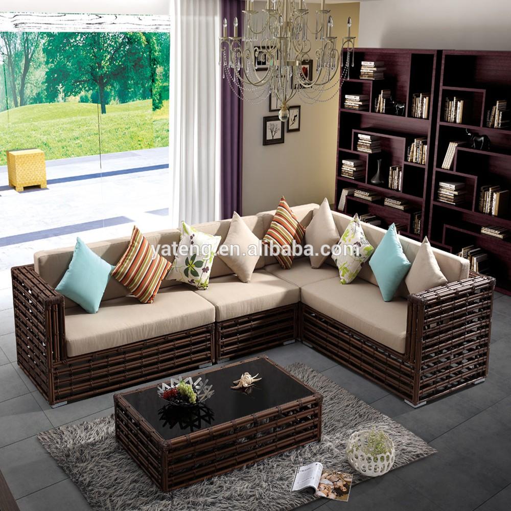 Modern lobby sofa design pe rattan hotel lobby sofa buy for Modern rattan sofa