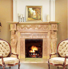 Cheap handcarved Beige hearth Marble Fireplace surround