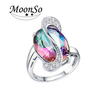 Wholesale high quality MOONSO interchangeable stone rings green stone ring lucky stone finger ring KR689