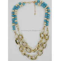 Handmade beads and chunky chain necklace design, gold bib necklace jewelry(RS-N155062)