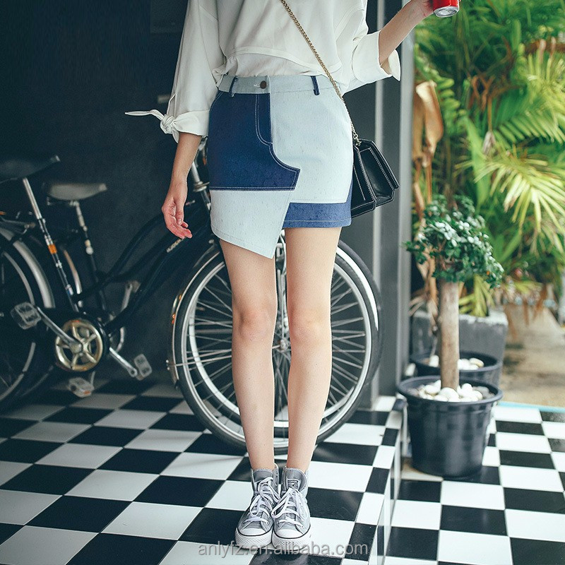 2016 utility kilt latest skirt design for women wrap skirt denim european style contrast color joint