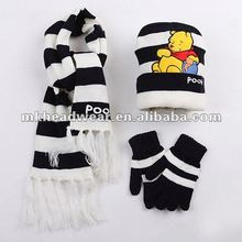 100% Acrylic Knitted Winter Kids Hat, Scarf&Gloves Set