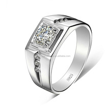 Wholesale fashion mens silver jewelry 925 sterling men ring with diamonds