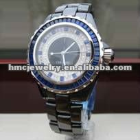2012 POPULAR JEWELRY Water Resistance Black Ceramic Quartz Small Wrist Watch With Blue Diamond