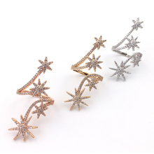 SJ Gorgeous female brass jewelry 4 plated color star surround opening long full finger rings foe women SJMC2330
