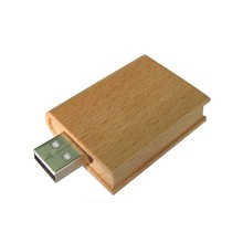 School Promotional Gift Oem Logo wooden book shaped USB flash drive 8GB