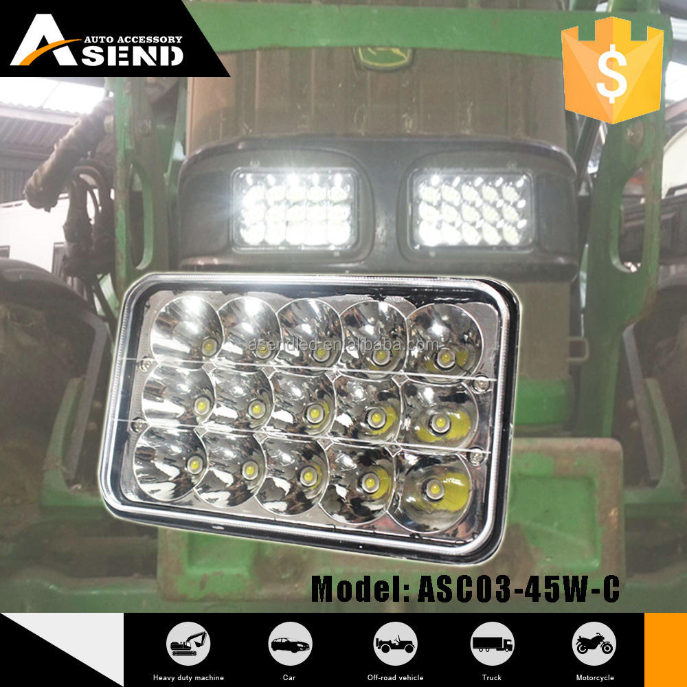 Square headlight 6X7'' work light 45W LED 5X7'' black/white cover projector