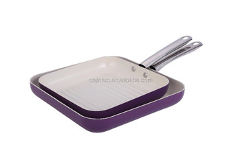 aluminum non-stick grill pan with glass lid s/s handle