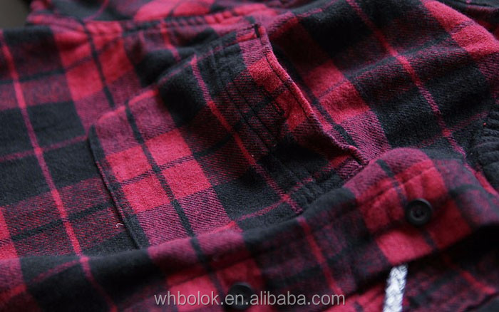 Cotton flannel shirt no collar check fashionable garments mens long sleeves dual chest pockets hoody shirts