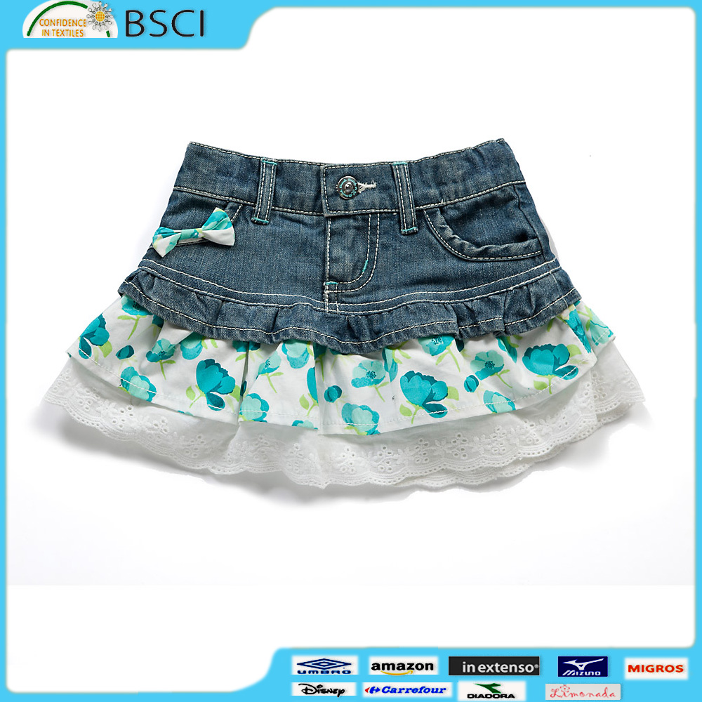 Three Layer Pleat Frills Children's Skirts Jean Metal Button Soft Washing Eco-Friendly Denim