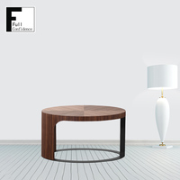 Home Furniture Classic Design Elliptical Panel Walnut Veneer Coffee Table