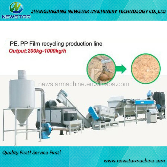 Good quality plastic crusher washing line pe pp bottle film recycling
