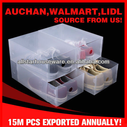 Clear Plastic PP Stackable Storage Shoe Drawer Box with Drawers