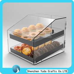 Double layer counter top acrylic bread case, plexiglass cupcake display wholesale