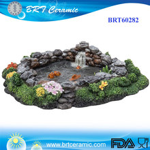 Miniature World Rock Fish Pond Resin Garden Accessories for Fairy Garden