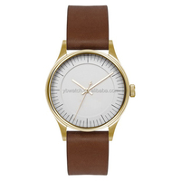 2015 hot selling customized simple dail double face leather watch