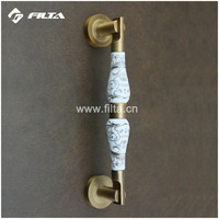 classical antique brass ceramic door hardware bedroom door pull handle