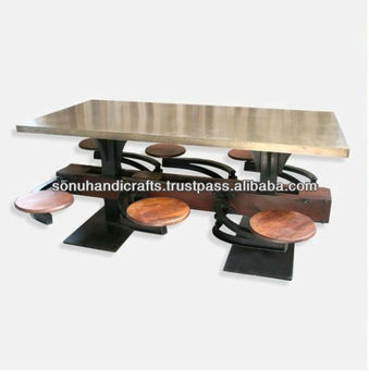 INDUSTRIAL IRON WOOD DINNING / CAFETERIA TABLE