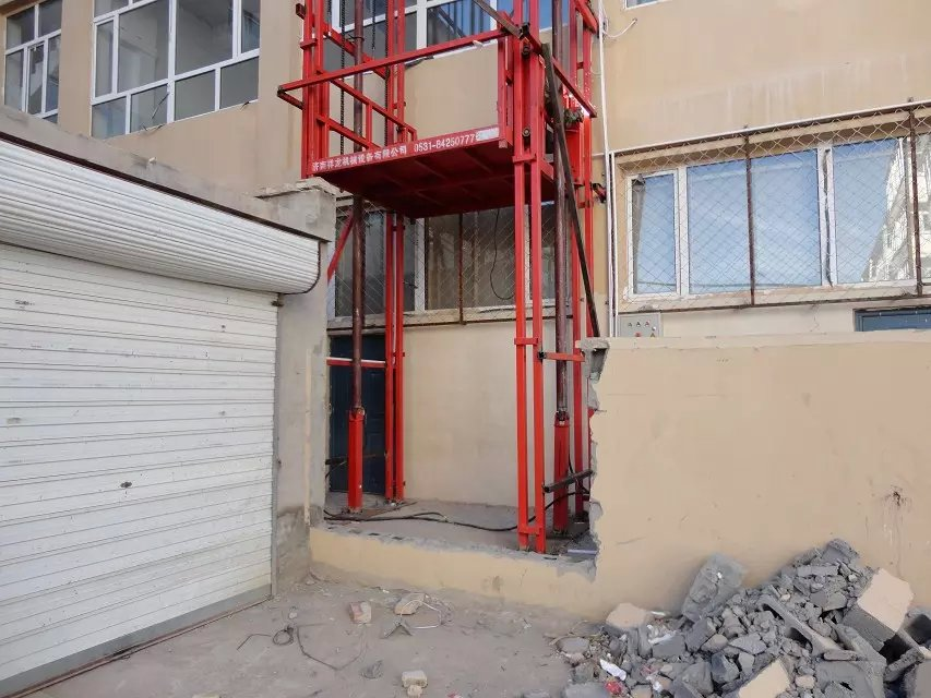 Hydraulic cargo lift goods lift guide rail elevator wall for Indoor elevator