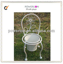 Chinese chair shaped cheap antique white metal flower pot