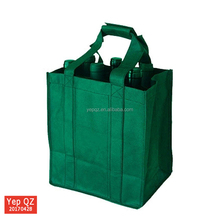 Recycled cheap promotional green color non woven wholesale 6 Bottles Wine Carrier Bag