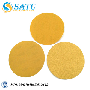 5 inch Gold Coated Latex Paper Hook And Loop Sand Abrasive Paper Discs