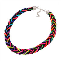 Attractive style fashionable colorful braided rope necklace N3216
